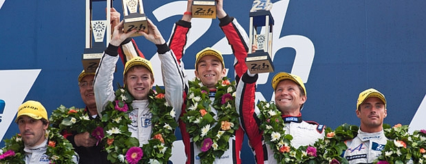 Technojobs celebrate victory for sponsored race car in Le Mans 24 Hour Race